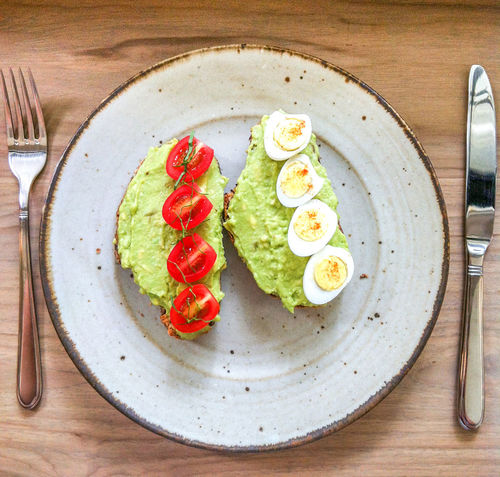 Healthy Food Still Life Avocado Toastbread Tomato Egg Silverware  Fork Yummy Healthy Delicious Healthy Lifestyle