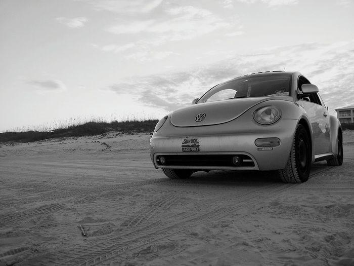 Bug VW Beach Relaxing Sunoco Bw