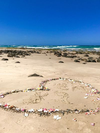Flower Heart Happy Message Sea Beach Land Sky Water Blue Sand Clear Sky Beauty In Nature Horizon Over Water Scenics - Nature Tranquility Day Sunlight Summer Outdoors