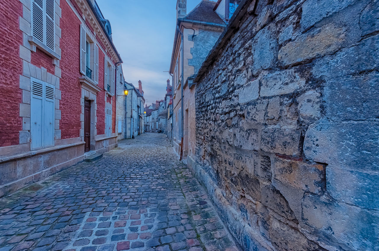 architecture, building exterior, built structure, cobblestone, no people, outdoors, day, the way forward, sky