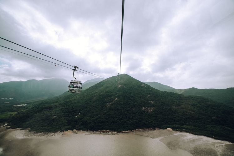 Overhead cable car over mountains