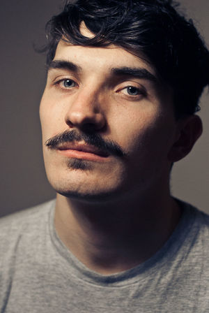 Headshots Hipster Style Moustache Portraits Close-up Eyes Front View Headshot Headshot Photography Hipster Indoors  Josh Morter Lifestyles Look Moustaches One Person Portrait Real People Studio Shot T Shirt Young Adult Young Men