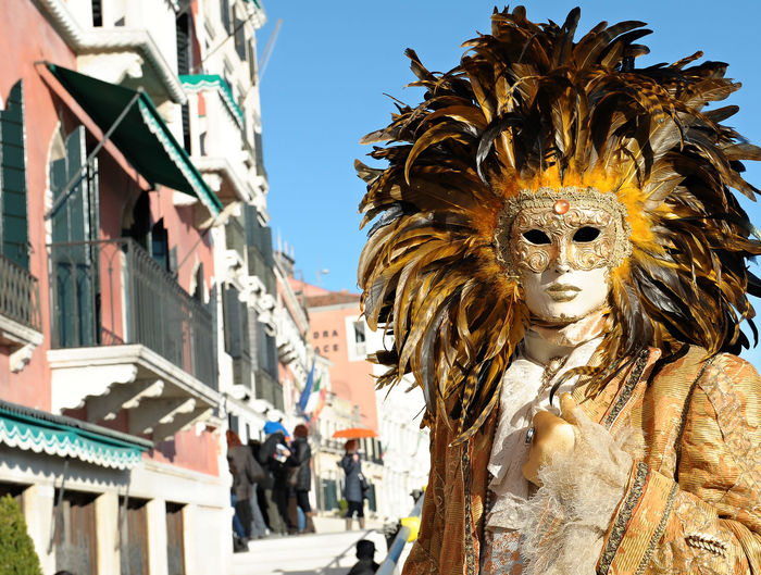 Portrait Of Person Wearing Costume During Venice Carnival