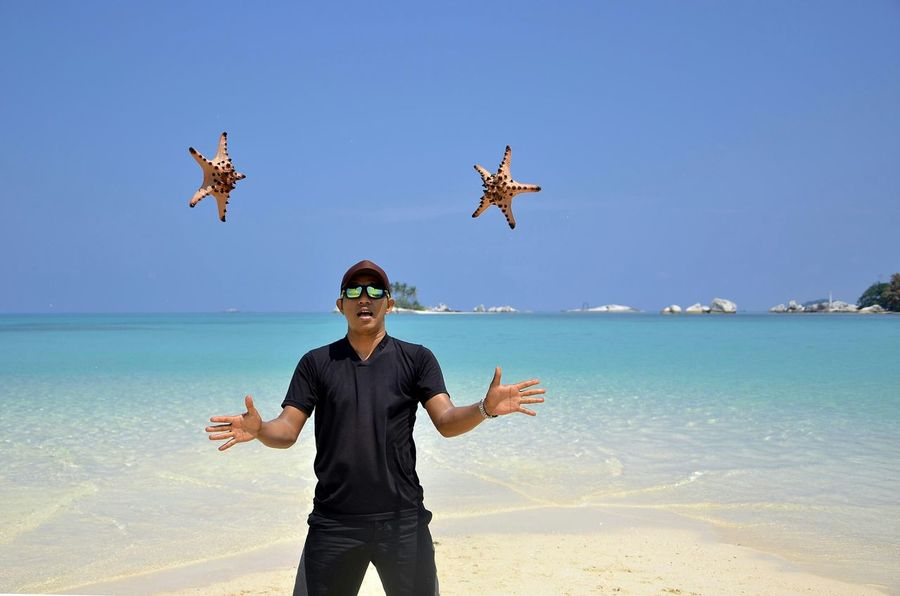 Me & patrick star Belitung Island Sand Island That's Me Beautiful Beach Laskar Pelangi