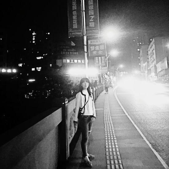 Street Transportation City Night Full Length Illuminated People