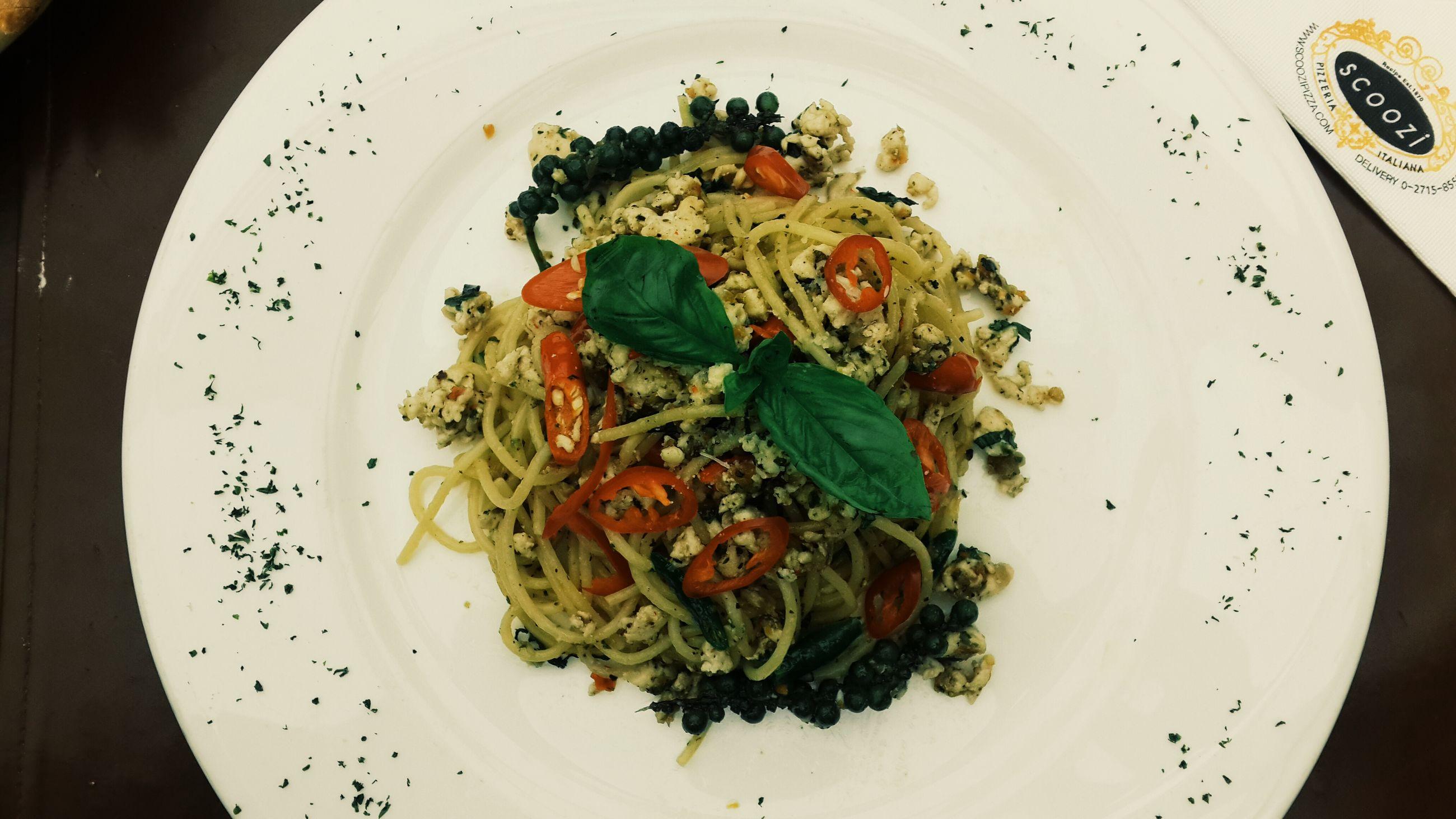 Spaghetti Greencurry Thaistyle Delicious