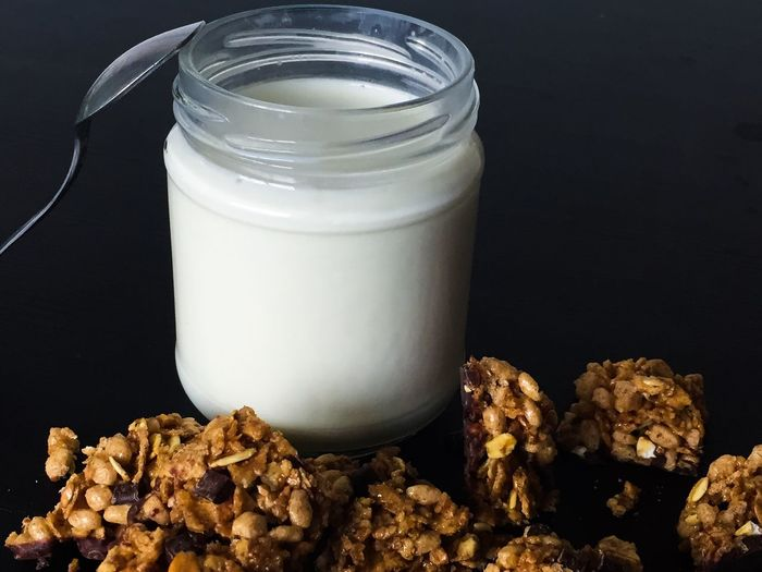 Yogurt Food Food And Drink Healthy Eating Jar Freshness Table Milk Indoors  No People Close-up Ready-to-eat Breakfast Colazione Al Cucchiaio