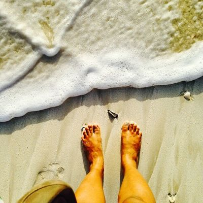 Feet Sand Beach Waves Foam Water Having Fun