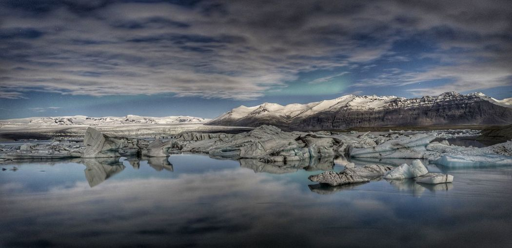 Panoramic view of frozen lake against sky