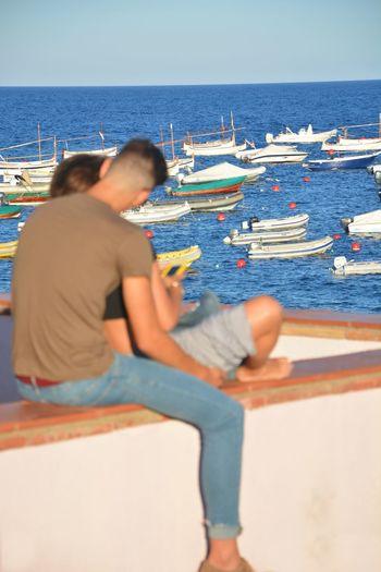 Calella De Palafrugell. Mediterranean  Nikon Summer Summertime Love Love ♥ Catalunya OpenEdit Tenderness Blue Life Is A Beach Water Sea Beach Sitting Summer Clear Sky Relaxation Calm