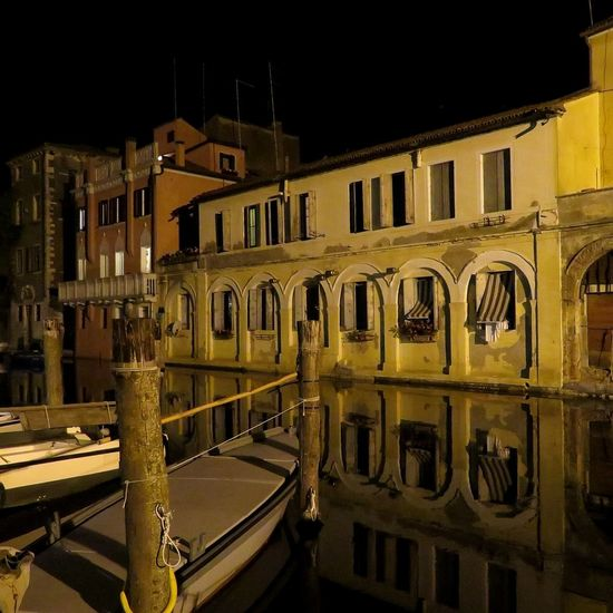 Night Lights Reflection Nightphotography Arch Community Gondola - Traditional Boat City Window Cultures Cityscape Architecture Sky Built Structure Canal Façade