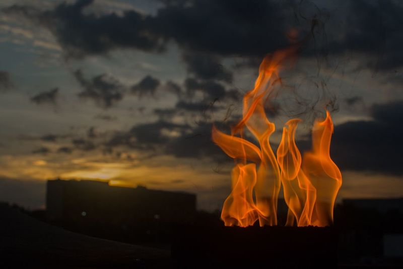 Close-Up Of Fire Against Sky During Sunset