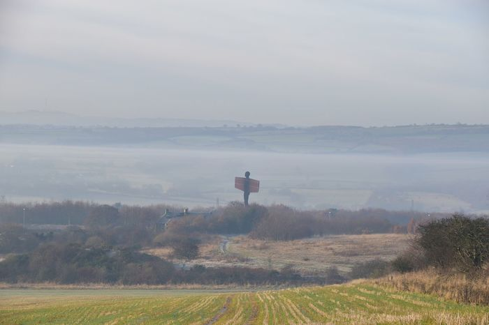 Taking Photos Sunny Day Misty Morning Frosty Landscape Angel Of The North Nikon D5500