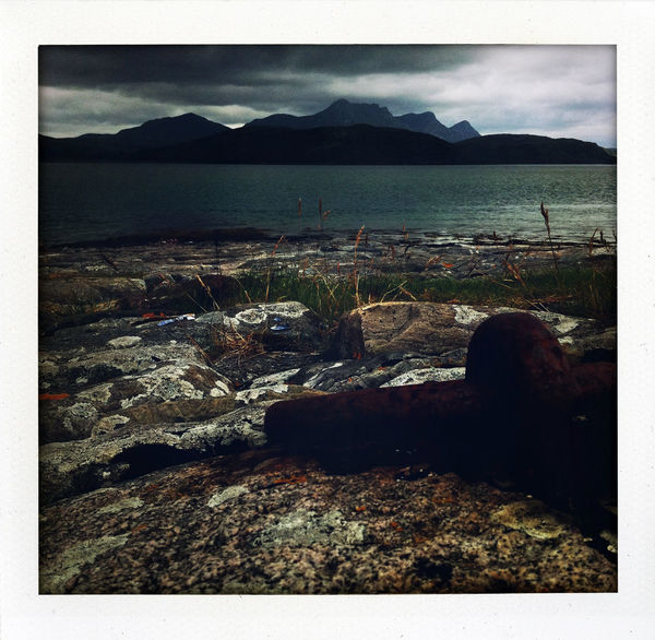 Betterlandscapes Polaroid Art Schottland Scotland Beach Beauty In Nature Day Landscape Mountain Mountain Range Nature No People Outdoors Polaroid Rock Rock - Object Scenics Scottish Highlands Sea Sky Tranquil Scene Tranquility Travel Destinations Water