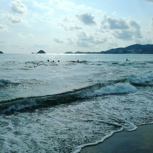 Beach Sand Horizon Over Water Cloud - Sky Blue Travel Destinations Landscape Ixtapa Beach