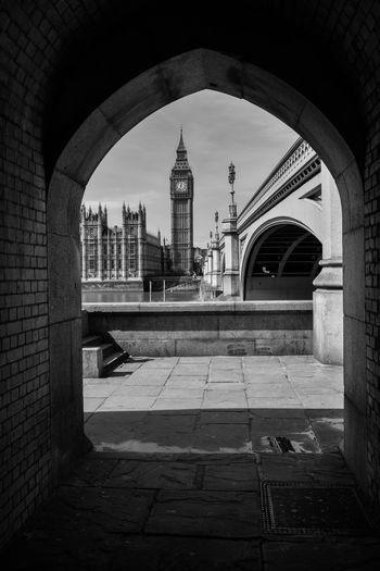 Big ben seen through archway