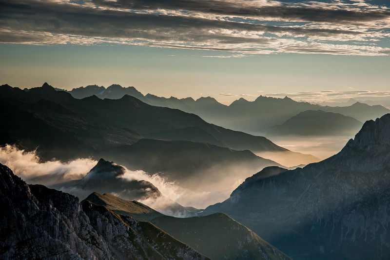 Dawn in the mountains with fog