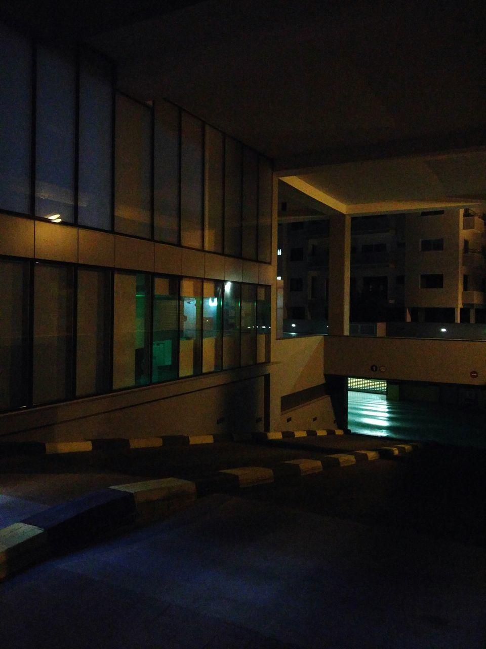 illuminated, architecture, built structure, indoors, night, no people, building exterior