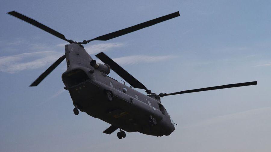 Een Chinhook van de Nederlandse Luchtmacht Chinhook RNAF Leeuwarden Vliegbasis Leeuwarden Helicopter