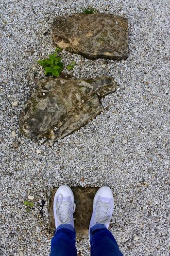Adventure Club Close-up Day Elevated View Fine Art Photography Footwear Gravel Ground Lifestyles Low Section Nature On The Way Outdoors Part Of Person Personal Perspective Rocks Standing Step Stepping Stones Stone Taking Steps Travelling Unrecognizable Person Walking Out Of The Box