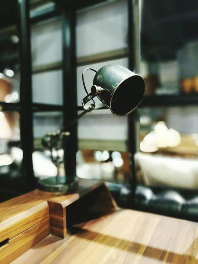 Metallic table lamp at home