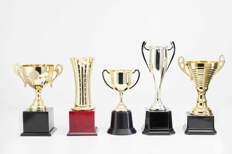 Variety of Trophy Cup on white background AWARD Achievement Success Still Life Trophy Indoors  White Background Side By Side No People Studio Shot Variation Shiny Group Of Objects Choice Gold Colored Winning In A Row Arrangement Large Group Of Objects Metal Silver Colored Brightly Lit