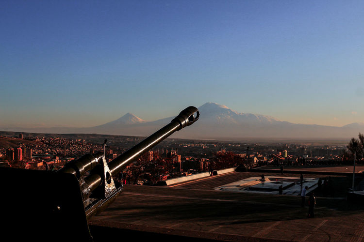 Ararat Mountain🗻🗻 Yerevan Armenia Yerevan Sunset Air Vehicle Airplane Ararat Mountain Architecture Building Exterior Built Structure City Cityscape Clear Sky Day Flying Mountain Mountain Range Nature No People Outdoors Sky Stadium Travel Destinations Lost In The Landscape