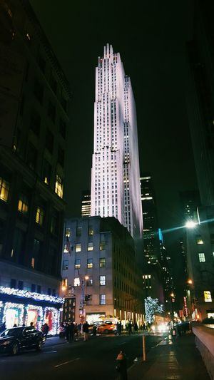 Rockefeller Plaza Architecture Building Exterior Business Business Finance And Industry City City Life Finance Illuminated Low Angle View Modern Night Night Sky No People Office Building Exterior Outdoors Skyscraper Urban Skyline