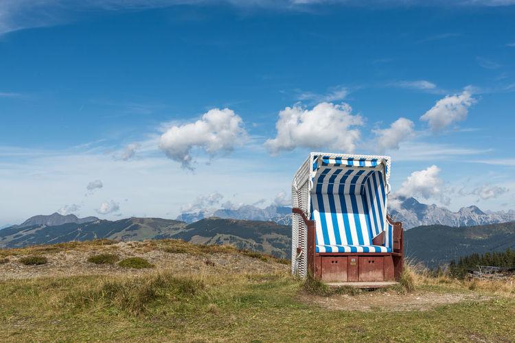 Berge Himmel Pinzgau Salzburger Land Schmittenhöhe Spätsommer  Strandkorb Wolken Zell Am See Steinernes Meer Österreich