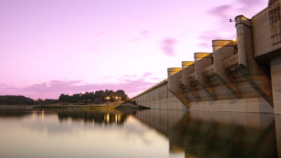 Hidroelectrica Valencia, Spain València SPAIN Water Water Dam Dam Sky Architecture Building Exterior Cloud - Sky Pink Color Water Nature Sunset Built Structure Reflection Building Visual Creativity EyeEmNewHere