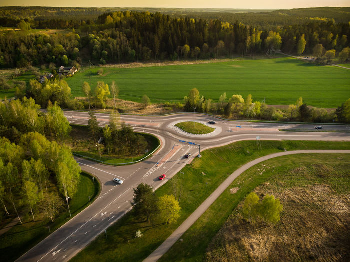DJI Mavic Air Country Road Curve Day Dji Environment Grass Green Color High Angle View Highway Land Landscape Mavic Multiple Lane Highway Nature No People Non-urban Scene Outdoors Plant Road Scenics - Nature Street Transportation Tree