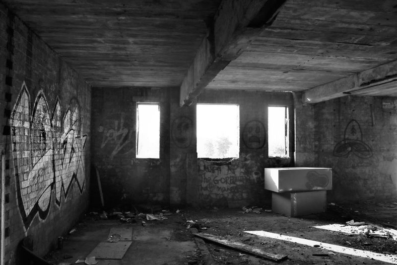 Derelict Derelict Abandoned Architecture Black And White Photography Damaged Day Destruction Dirty Indoors  No People Run-down Vandalised Window