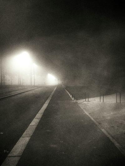 Monochrome Evening Fog Walking Home Streetphotography