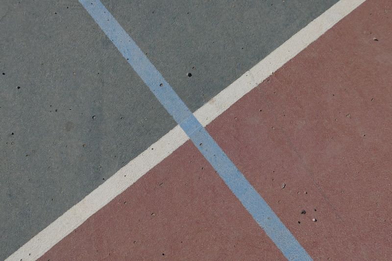 High angle view of marking on playing field