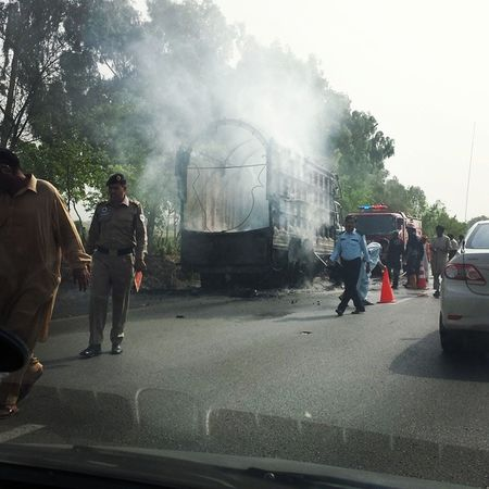 Destruction n chaos in Islamabad Pakistan Truck Pti pmln qadri