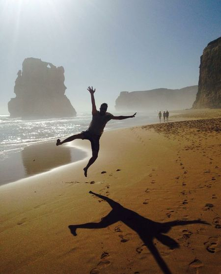 Happiness Jump Beach Happiness Beach Silhouettes Golden Sand Jumping Picture Beachlife Beach Lifestyle Australia Great Ocean Road