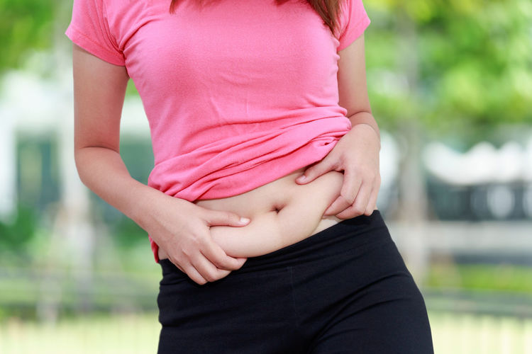 Midsection Of Young Woman Holding Tummy