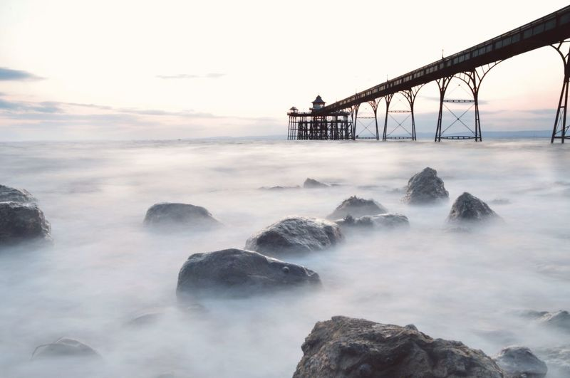Clevedon Pier Over Sea During Foggy Weather