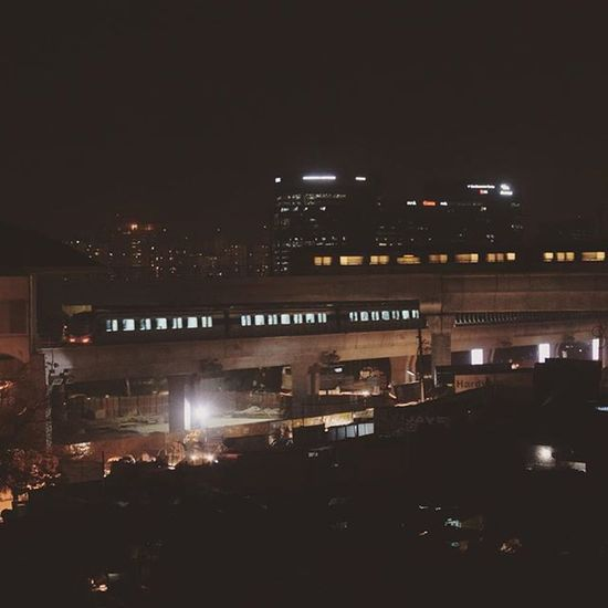 Gurgaon NCR Delhi India Hostel Roofview Delhi_metro Train Night Landscape Nikon D5300