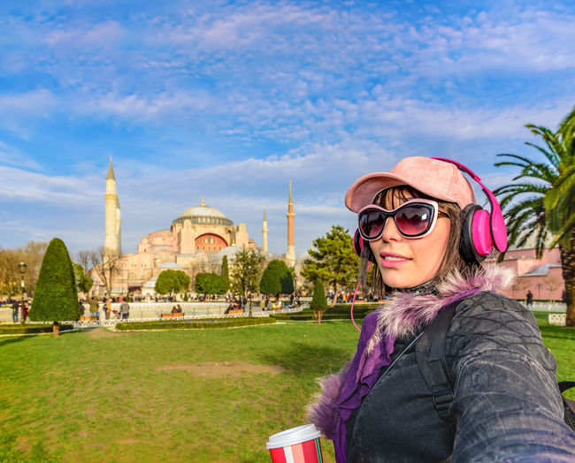 Ahmed Ahmet Aya Beautiful Building Cathedral Caucasian Cell Church City Coffee Cup Europe Female Girl Hagia Headphone Headset Holiday Image Istanbul Journey Lifestyle Minaret Mosque Museum Outside Park Phone Self Selfie Sightseeing Sky Smart Sofia Sophia Square Sultan Take Tourism Tourist Travel Traveler Traveling Trip Turkey Turkish Urban Vacation Woman