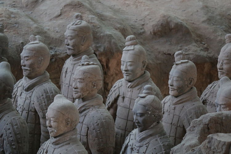 Human Representation Statues Army Unit Museum Exhibit BEIJING北京CHINA中国BEAUTY China Photos 3XSPUnity Xian China Amazing China Memories From China Ancient Close-up Terracotta Army Terracotta Soldiers Warrior Details Textures And Shapes Ancient Civilization Statue Art And Craft Traditional Clothing History Statue Sculpture Faces Cultures