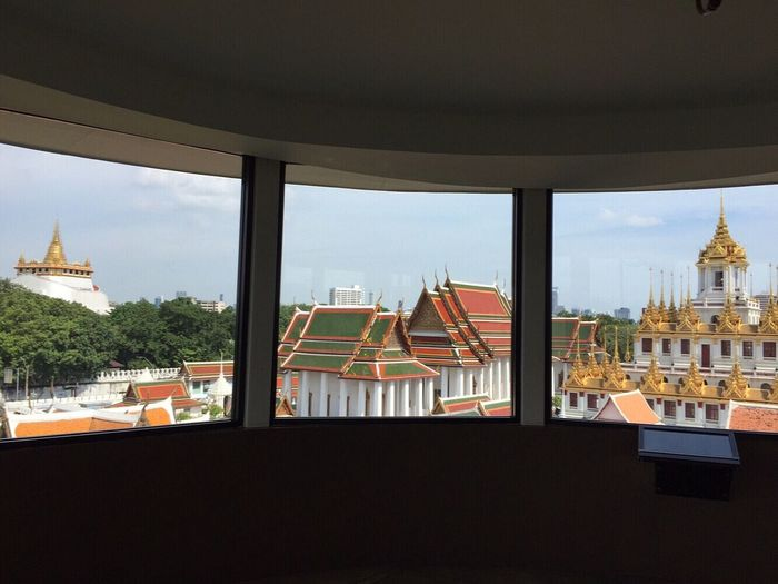 Golden Mount Gold Chedi Loha Prasat Wat Ratchanadha Matallic Castle Buddhist Temple Bangkok Thailand View From The Window... Temple Architecture No People
