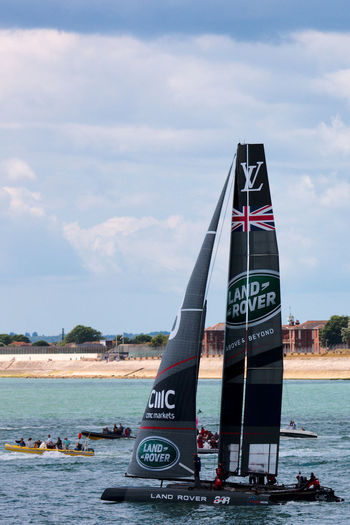 Departure America's Cup Land Rover Racing Communication Outdoors Sailing Sea Text Water