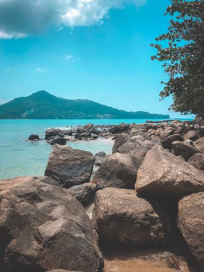 Water Sky Sea Beach Land Nature Beauty In Nature Solid Scenics - Nature Tranquil Scene Cloud - Sky Tranquility No People Sand Day Rock Sunlight Rock - Object Outdoors