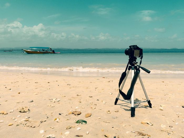 Passion EyeEm Best Shots EyeEmNewHere Tripod Seashore Seascape Photography Beach Sea Sand Sky Water Nature Technology Outdoors Full Length Day Horizon Over Water