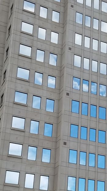 Architecture Building Windows Reflecting Sky