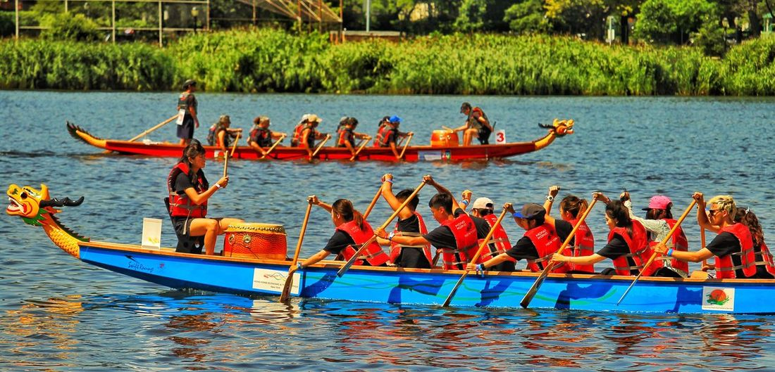 Nautical Vessel Outdoors Water Team Rowing People Day Oars Trees Colors Dragon Boats Flushing Meadow Park