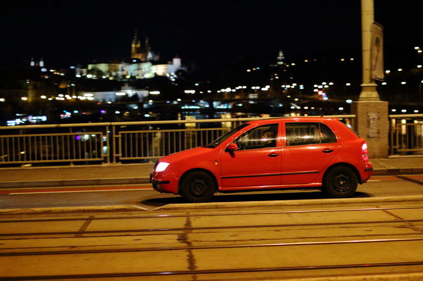 City Land Vehicle Let's Go. Together. Mode Of Transport Night No People Prague Red Red On The Move Road Street Transportation
