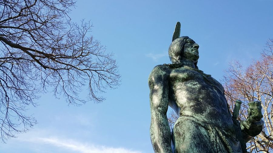 Statue Of Massasoit Native American Indian Plymouth Waterfront Plymouth, MA USA Statue Overlooking Plymouth Rock Blue Sky Historical Landmarks Eyeemphotography EyeEm Gallery Sky_collection Blue Wave S6