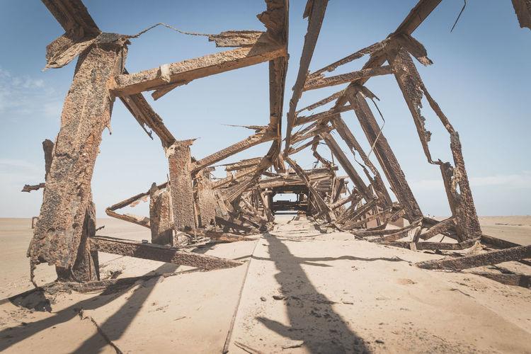 Abandoned built structure on desert